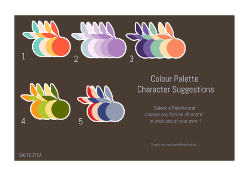 Colour Palette Character Suggestions (OPEN) by SaltedTeaLeaves