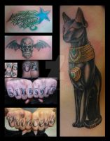 Baset tattoo with Knuckle tattoos by All-Wolff