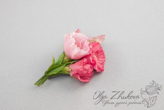 Brooch with pink Eustoma by polyflowers