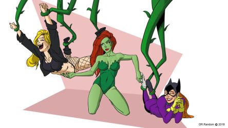 Black Canary and Batgirl tickled by Poison Ivy by Dr-Willard