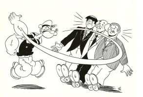 Popeye and The 3 Stooges by zombiegoon