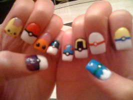 Pokemon and Pokeball Nails by Splodes