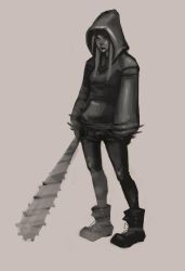 girl with a spike club by areve