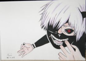 Kaneki Ken (painting) by Cane-the-artist