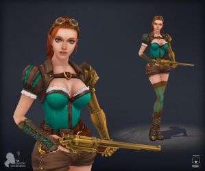 Steampunk girl by DmitryGrebenkov