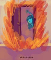 Door on flames by norishh