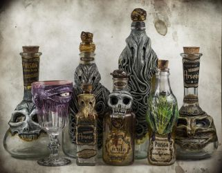 Lovecraftian Creepy Bottles by FraterOrion