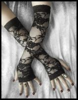 Isabel Lace Extra Long Arm Warmers by ZenAndCoffee