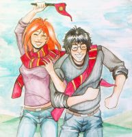 Harry and Ginny Quidditch by Karmypu