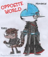 Opposite's World - Mordecai and Rigby by RegularBluejay-girl