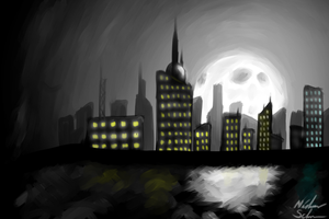 Moonlit City by Red-Thorn-Dragon