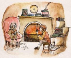 Frodo and Bilbo by lawksie
