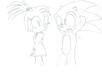Sonic and Emra .:Lineart:. by 6SeaCat9