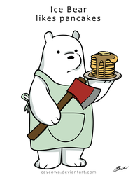 We Bare Bears - Ice Bear Likes Pancakes by caycowa