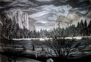 Yosemite Valley in Charcoal by reklesskelly