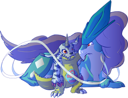 Gabumon and Suicune by Zaxlin