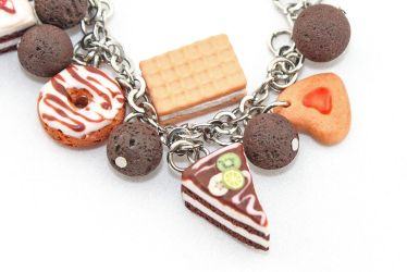 Handmade polymer clay bracelet Tea time by EvrazhkaStudio