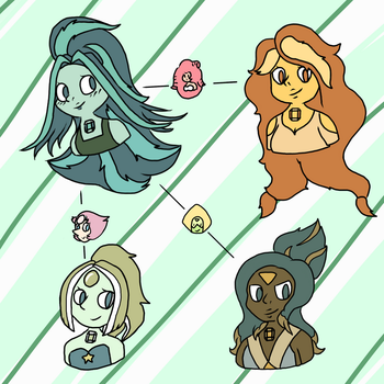 Emerald and her Fusions -=- Commission by Natidot