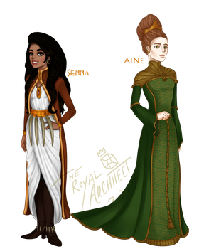 Winter Dress Collab - Senna and Aine by TheRoyalArchitect