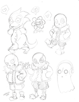 Undertale Sketches by ProjectHalfbreed