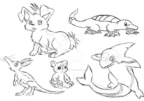 Fakemon sketchdump 1 by LetterBomb92
