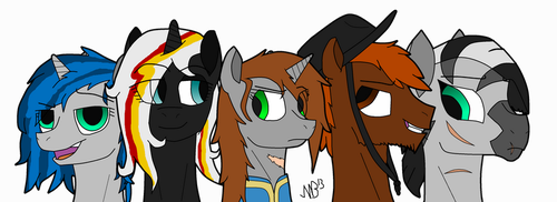 Fallout: Equestria - Character line up (new style) by Stormbadger