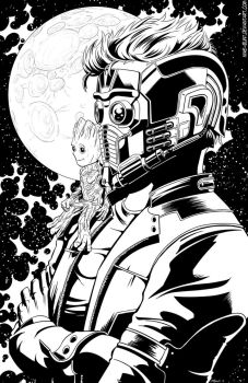 Star-lord and baby Groot by Mike-Bunt