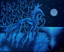 blue horse by siaorie