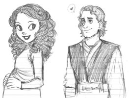 Anakin and Padme cartoon style sketch by KatyTorres