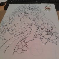 Skull Cherry Blossom and Lotus Design by mxw8