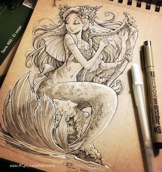 Mermaid with Harp by KelleeArt