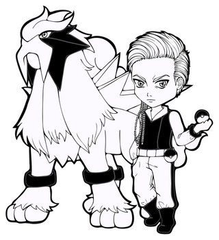 Lineart | Ace Trainer Hanish with Entei by Chibivi-Linearts