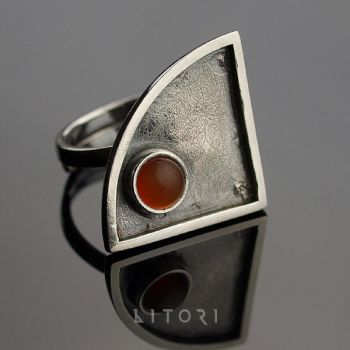 HATOON  sterling silver  ring with carnelian by litori