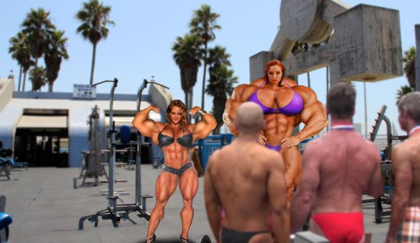 Anna and Pip visit muscle beach by jderril