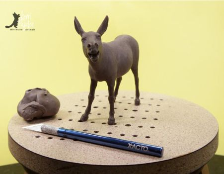 Miniature Braying Donkey Sculpture ~ WIP by Pajutee