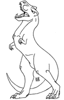 T Rex Lineart by TurtlesaurRex