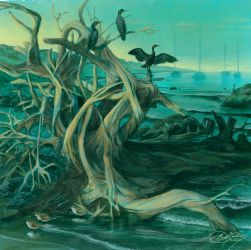 Dawn Cormorants Mural Concept by Damalia