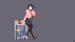 Ougi Oshino (Owarimonogatari) Minimalist Wallpaper by greenmapple17