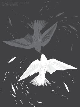 Black and White Birds by littlepaperforest