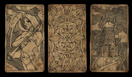 Tarot Tryptich by damon-gear