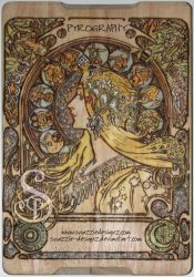 Mucha Pyrograph (Woodburning) - Coloured In by snazzie-designz