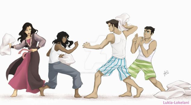 Team Avatar - pillow fight by Lukia-Lokelani