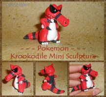 Pokemon - Krookodile Sculpture - Handmade Figurine