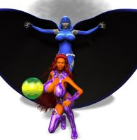 Raven and Starfire Expanded by Chup-at-Cabra