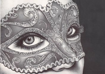masquerade - ballpoint pen drawing by angelfaces1986