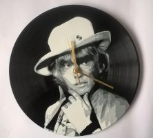 Brian Jones painted on vinyl record by vantidus