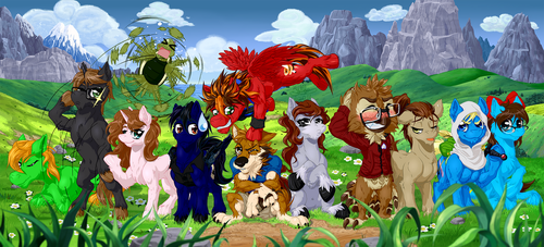 Commission: Fuzzball Group photo by H-StallionWolf
