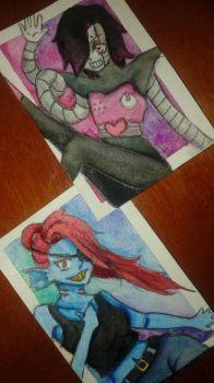 Undyne and Mettaton -  Trading Cards by Dannanariko