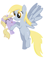 Derpy Hooves and Dinky by JoeMasterPencil