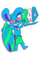 Dayglo gnarly surf bunny by Machu